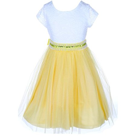 Little Girls Lace Top Rhinestone Pearl Special Party Flower Girl Dress Yellow 2 (J20KS45) - Yellow Dress Ideas