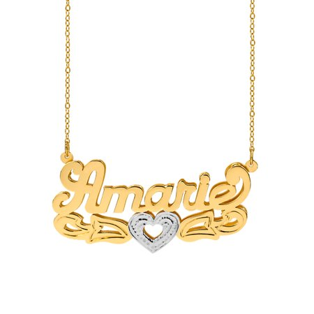 Personalized Sterling Silver or 14K Gold Plated Double Name Necklace w/Tail and Heart. W/Beading and Rhodium on Heart 18