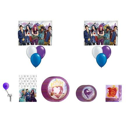 Descendants 2 Birthday Party Supplies Bundle Kit Including Plates Napkins Table Cover Ballon Bouquet