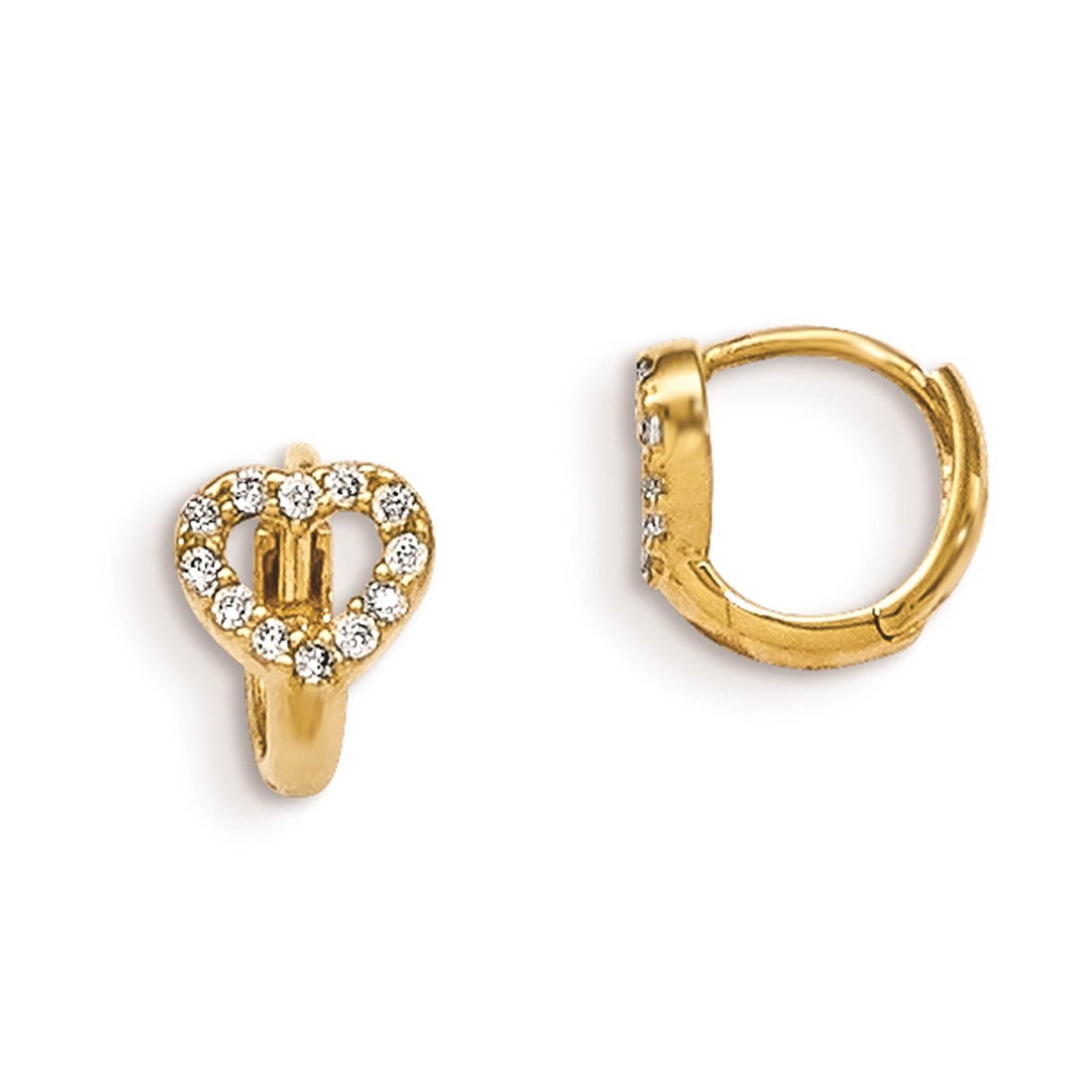 Madi K Kids 14k Yellow Gold Children's Heart Hinged Hoop Gift Boxed Earrings