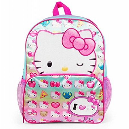 Hello Kitty I Love Kitty 16 inch Backpack with Side Mesh Pockets - Hello Kitty Mesh Backpack