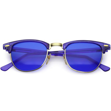 c475846110 sunglass.la - True Vintage Horn Rimmed Semi Rimless Sunglasses Color Tinted  Square Lens 49mm (Blue   Blue) - Walmart.com