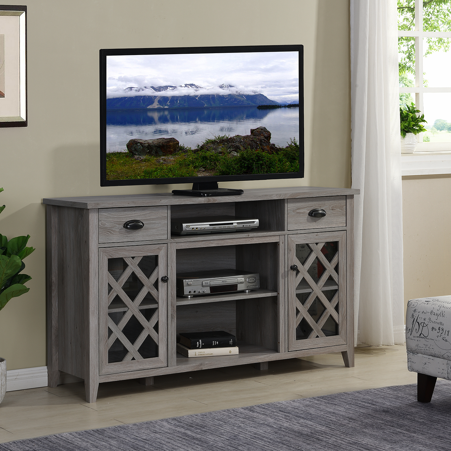 Home Source Grey Tv Stand Walmart Com Walmart Com
