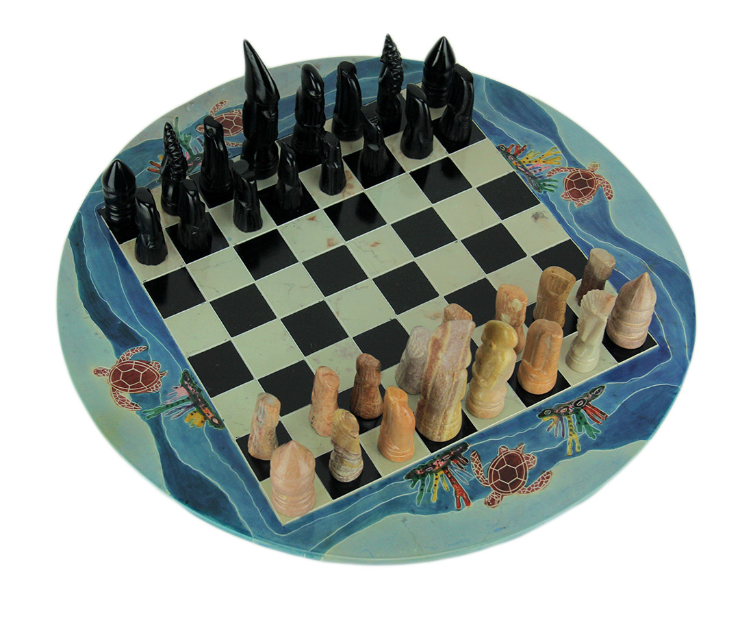 Tribal Sea Turtle Hand Painted 11.75 inch Round Chess Set Hand Carved Pieces by Stoneage Arts