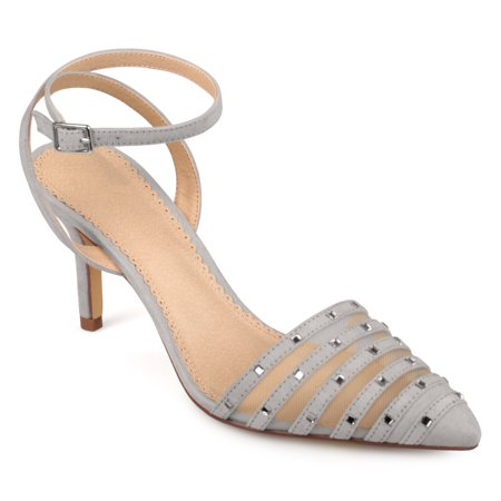 Women's Faux Suede Rhinestone Pointed Toe Ankle-strap Heels