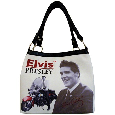 - Elvis Presley Motorcycle Portrait Purse - King Of Rock And Roll Handbag Tote