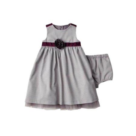 Wendy Bellissimo Infant Girls Gray Houndstooth Party Dress & Diaper Cover - Wendy Outfit