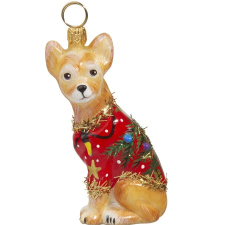 Diva Dog Chihuahua Wearing Ugly Christmas Sweater Polish Glass Ornament Dog New - Ugly Ornaments