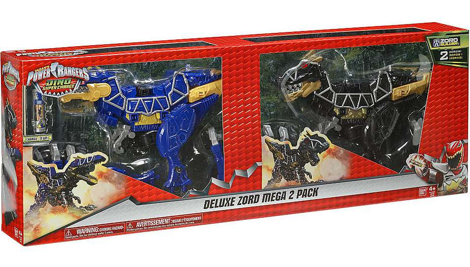 Power Rangers Dino Super Charge Spino Zord & Black T-Rex Zord Deluxe Zord Mega 2-Pack by