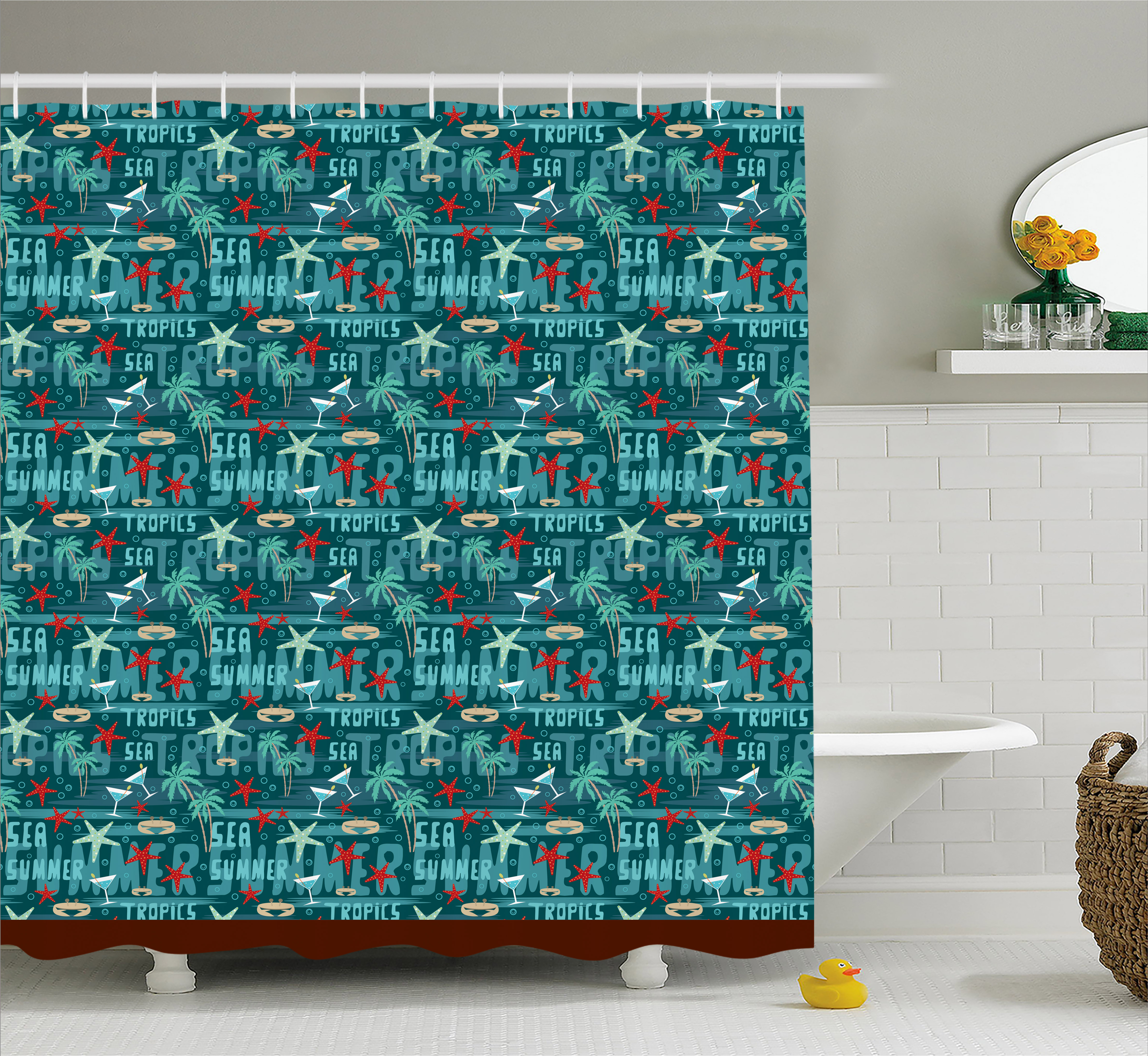 Palm Tree Shower Curtain, Summer Vacation Travel to Tropical Islands Starfish Drums Polynesian Drinks, Fabric Bathroom Set with Hooks, 69W X 70L Inches, Teal Beige Red, by Ambesonne