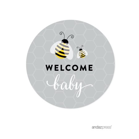 Mama to Bee Bumblebee Gender Neutral Baby Shower Paper Straw with Toppers DIY Party Favors Kit, 20-Pack