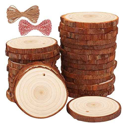 Natural Wood Slices 30 Pcs 2.4-2.8 inches Craft Wooden Circles Unfinished Wood Slices kit Predrilled Hole with 33 Feet String for Arts Wood Slices Christmas Ornaments DIY Crafts