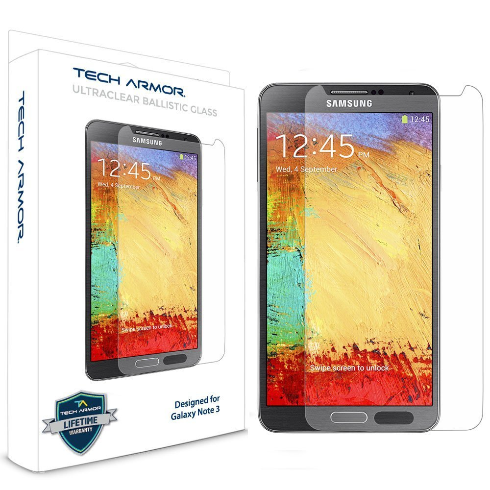 Galaxy Note 3 Glass Screen Protector, Tech Armor Premium Ballistic Glass Samsung Galaxy Note 3 Screen Protectors [1]