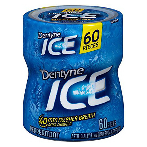 Dentyne Ice Gum Sugar Free Peppermint Bottles - 60 Pieces, 4 Ea