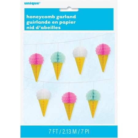 Hanging Ice Cream Paper Pom Poms Honeycomb Garland for Home Party Decoration,   7 ft - image 1 de 2