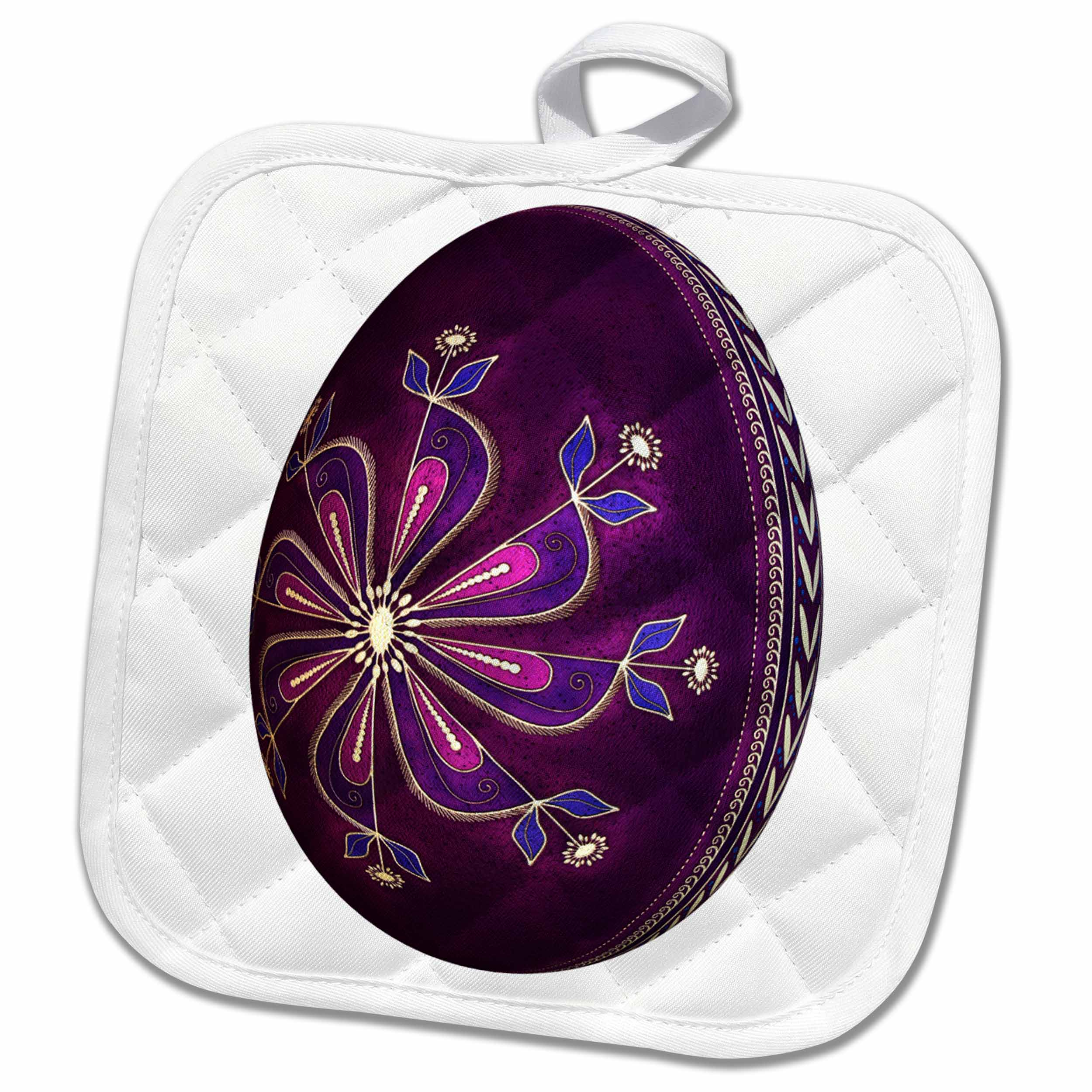 3dRose Dyed Purple Pysanky Easter Egg - Pot Holder, 8 by 8-inch