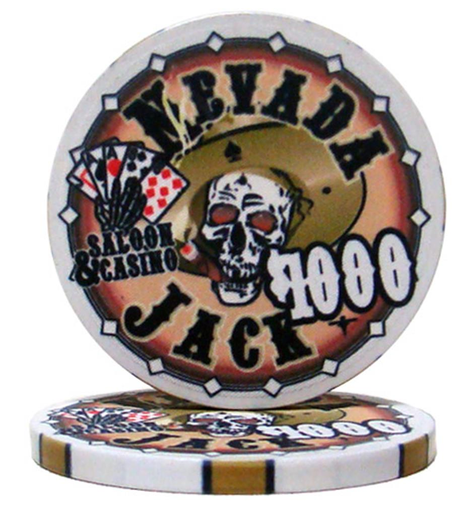"""Roll of 25 $1000 Nevada Jack 10 Gram Ceramic Poker Chip"" by BryBelly"