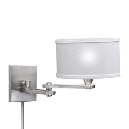 aztec lighting transitional chrome steel linen 1 light swing arm pin