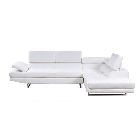 Furniture of America Briana Leather Sectional in White