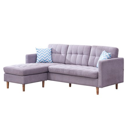 """Sectional Sofa, 82"""" L-Shape Sectional Couch with Reversible Chaise, 2 Soft Pillows, Solid Wood Frame and Legs Couches and Sofas Mid Century Sofa Couch with Modern Linen Fabric, Gray, Q5063"""