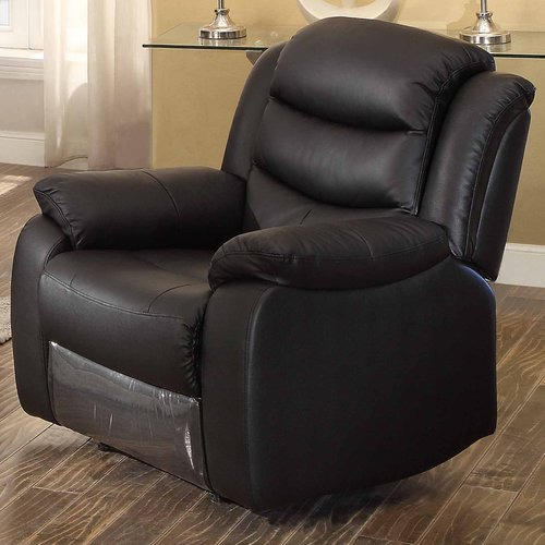 Image of AC Pacific Bennett Black Leather Transitional Glider Reclining Chair