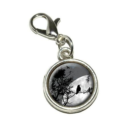 Raven at Night - Black Bird Full Moon Bracelet Charm