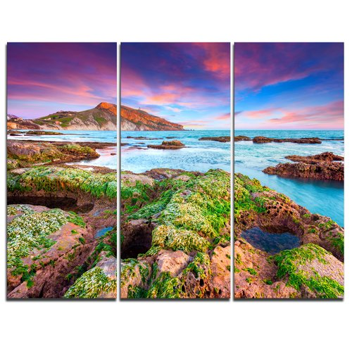 Design Art Giallonardo Beach Spring Sunset - 3 Piece Graphic Art on Wrapped Canvas Set