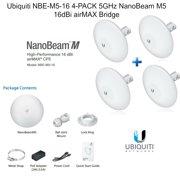 Ubiquiti NBE-M5-16 4-PACK 5GHz NanoBeam M5 16dBi airMAX Bridge