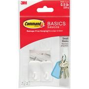 Command Basic Skinny Nose Hooks, White, Small, 2 Hooks, 2 Strips