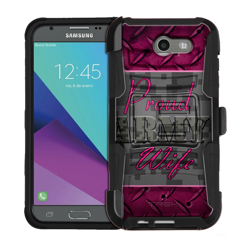 Samsung Galaxy J7 Sky Pro Armor Hybrid Case - Proud Army Wife Grey and Pink