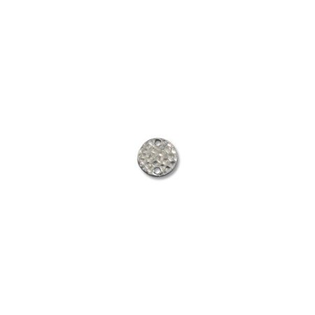 - Link - Round Hammered 11mm Pewter Bright Rhodium Plated (1-Pc)