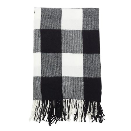"50""x60"" Buffalo Plaid Check Pattern with Tassel Trim Throw Blanket Black - Saro Lifestyle"