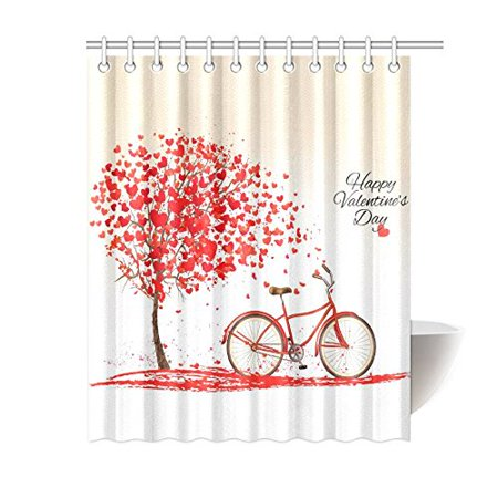 GCKG Tree of Love Heart Shower Curtain, Valentine's Day Bike Polyester Fabric Shower Curtain Bathroom Sets 60x72 Inches - image 3 of 3