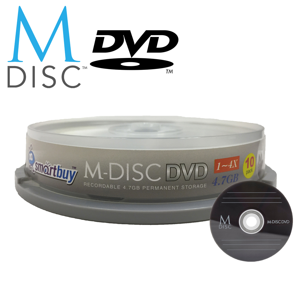 10 Pack Smartbuy M-Disc DVD 4.7GB 4X HD 1000 Year Permanent Recordable Disc