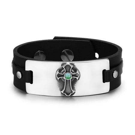 Ancient Celtic Viking Cross Protection Powers Amulet Green Quartz Gemstone Adjustable Leather Bracelet (Ancient Roman Glass Bracelet)