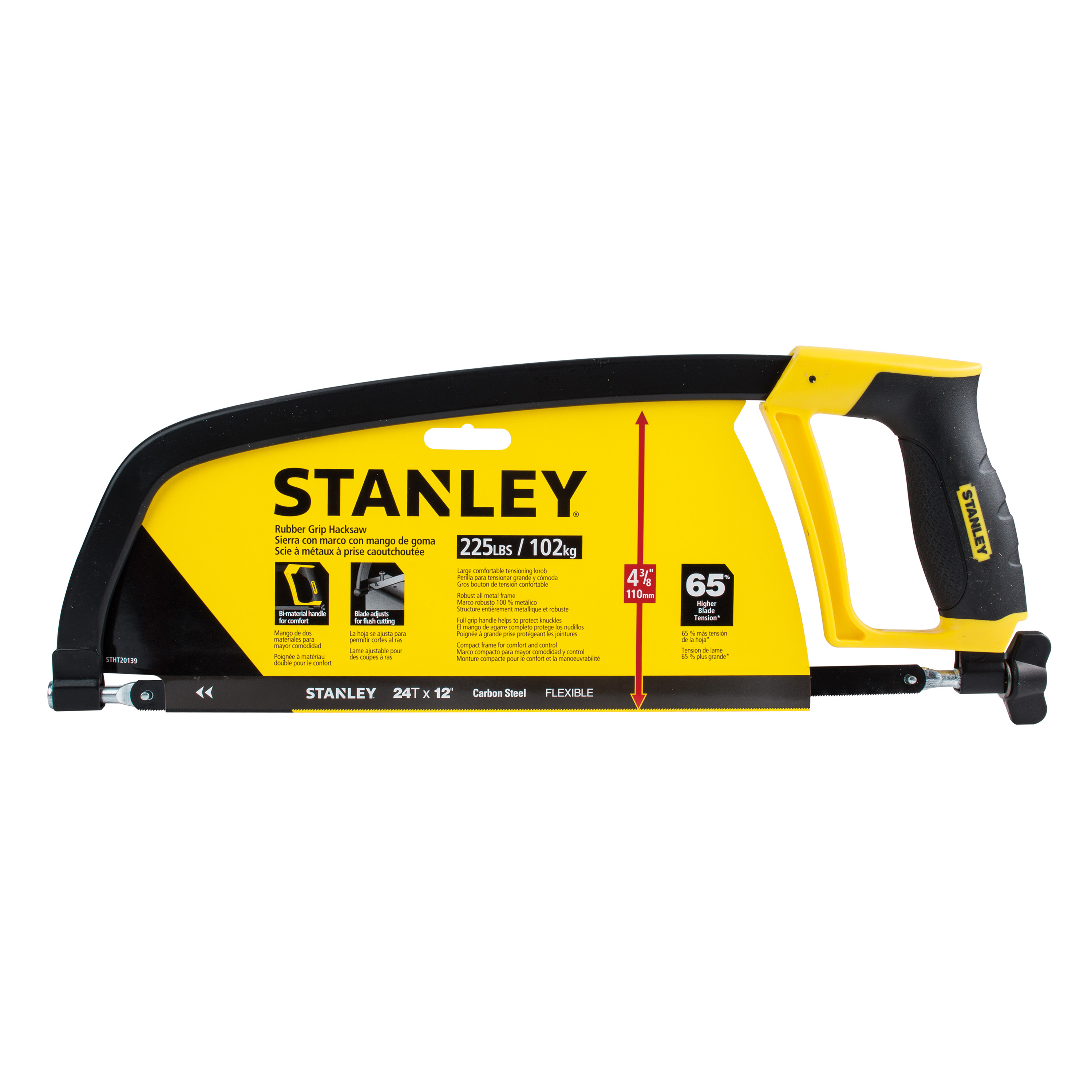 "STANLEY® STHT20139L 12"" Rubber Grip Hacksaw"