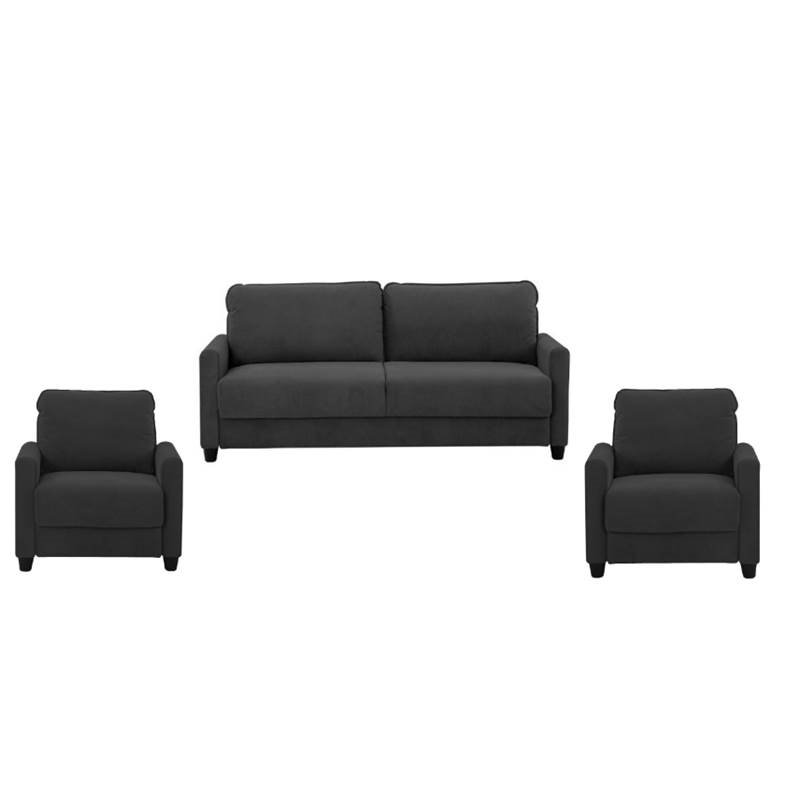 3 Piece Sofa Set With Sofa And Set Of 2 Accent Chair In Black
