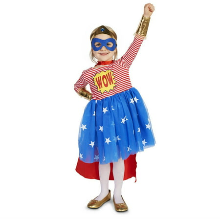 Pop Art Comic Superhero Girl Toddler Halloween Costume, Size 3T-4T
