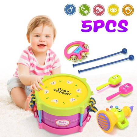 5Pcs Kids Baby Roll Drum Musical Instruments Band Kit Children Toy Gift Set Baby Boy Girl Drum Set Musical Instruments Kids Band Kit Children Toy Gift