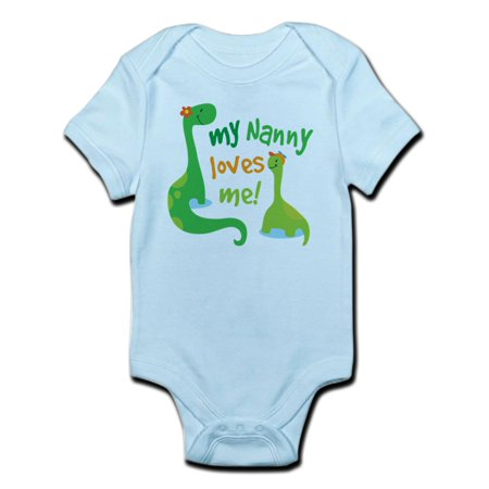 CafePress - My Nanny Loves Me Dinosaur Infant Bodysuit - Baby Light Bodysuit - Dinosaur Onesie