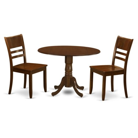East West Furniture 3 Piece Mission Drop Leaf Dinette Dining Table Set