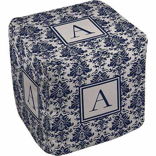 Thumbprintz Damask Monogram Pouf, Blue