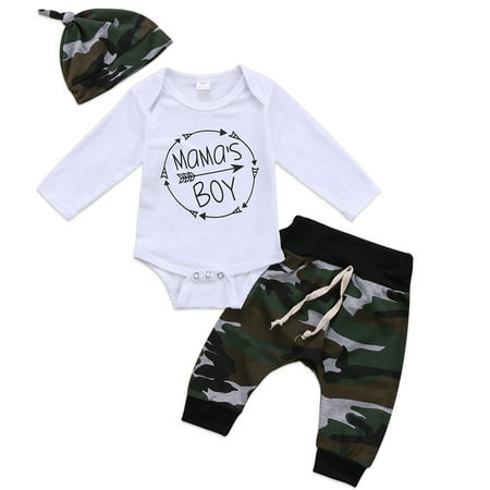 3Pcs Mama's Boy Infant Newborn Baby Boy Romper Jumpsuit Bodysuit + Camouflage Long Pants + Hat Clothes Outfit Set 0-6 Months