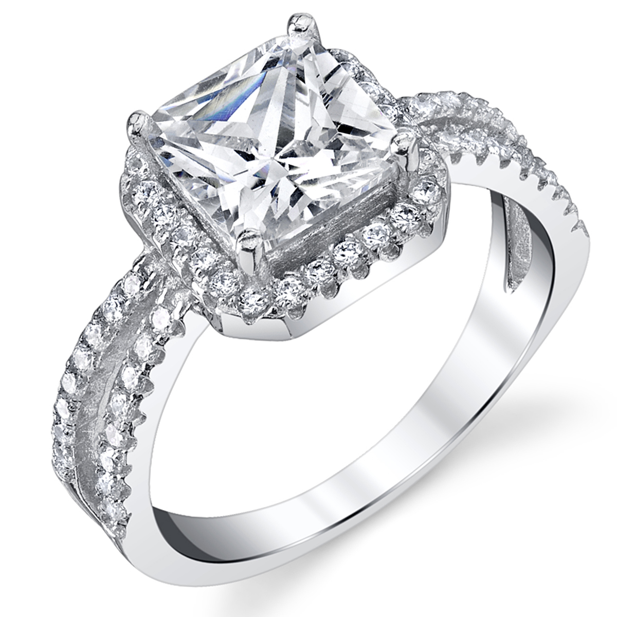 2 Carat Princess Cut Cubic Zirconia Sterling Silver 925 Wedding Engagement Ring Sizes 4 to 10