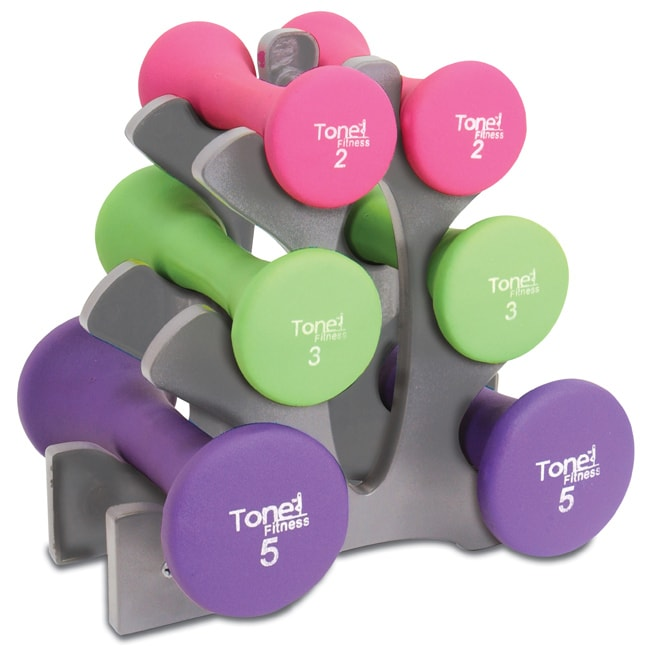 "Tone Fitness 20lb Hourglass Neoprene Dumbbell Set with ""A"" Frame Rack by Cap Barbell"