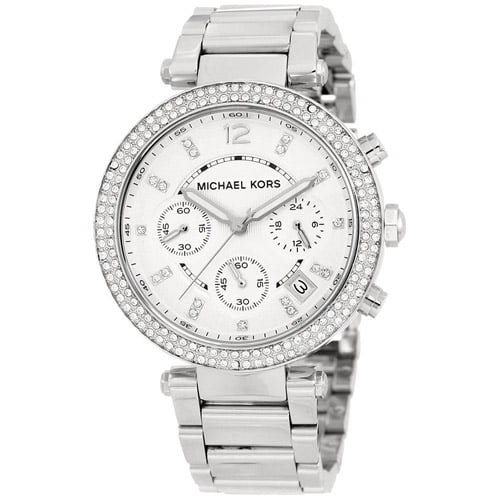 4253c8b7c42e ... Water resistant up to 5 ATM - 50 meters - 165 feet Michael Kors Women s  Chronograph Parker Stainless Steel Bracelet Watch MK5353