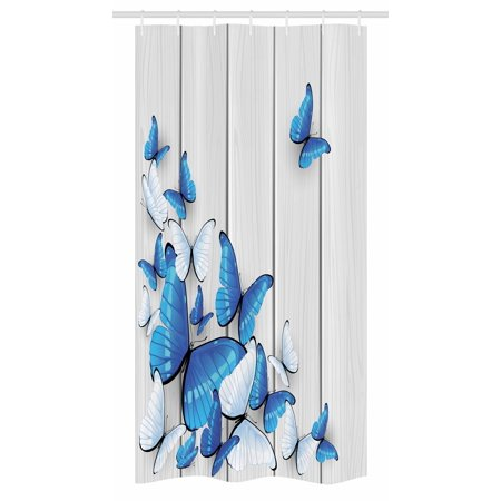 Timber Bath (Butterflies Stall Shower Curtain, Blue and White Butterflies on Wooden Background Timber Wall Rustic Life, Fabric Bathroom Set with Hooks, 36W X 72L Inches Long, Silver Blue White, by Ambesonne )