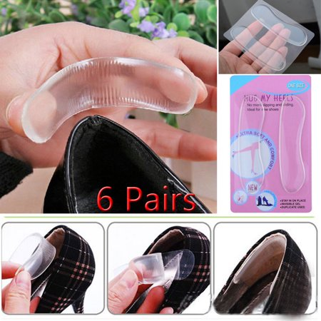 6 Pair Sticky Fabric Shoe Back Heel Inserts Insoles Pads Cushion Liner