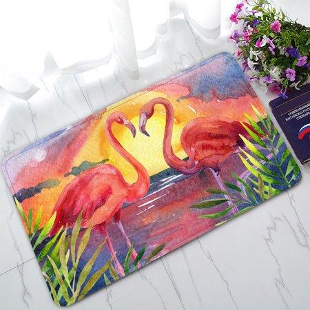 YKCG Tropical Sea Beach Palm Tree Sunset Pink Flamingo Doormat Indoor/Outdoor/Bathroom Doormat 30x18
