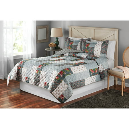 English Floral Quilt (Mainstays Highland Floral Patchwork Full/Queen Quilt )